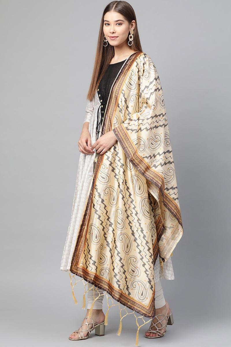 Art Silk Fabric Wedding Function Wear Cream Color Dupatta