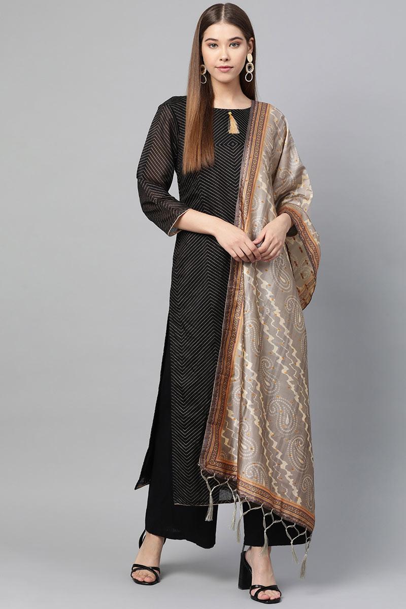 Function Wear Fancy Dark Beige Color Dupatta In Art Silk Fabric