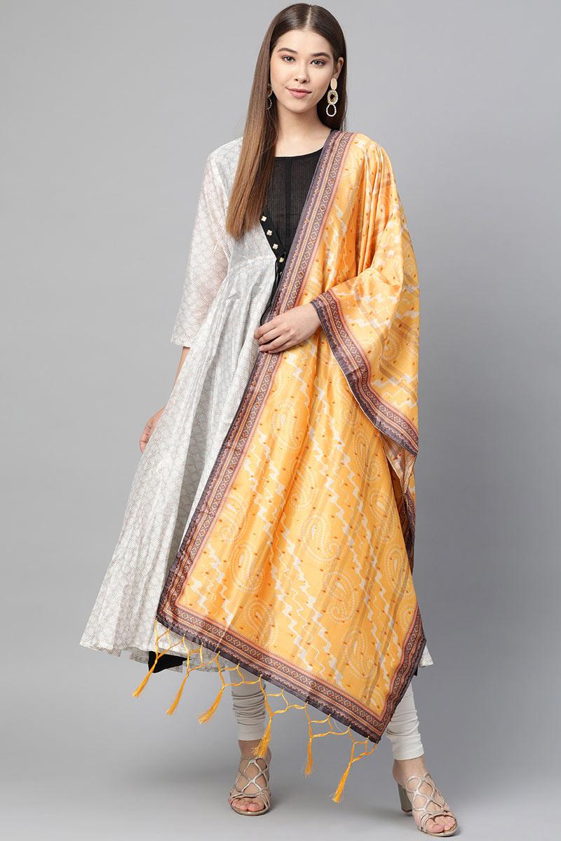 Mustard Color Designer Dupatta In Art Silk Fabric