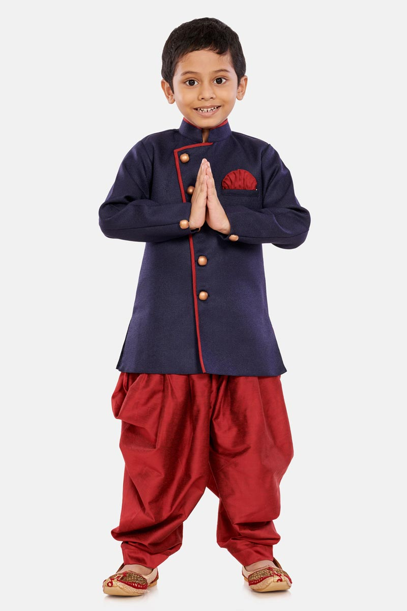 Function Wear Cotton Silk Fabric Dhoti Style Indo Western For Boys In Navy Blue Color