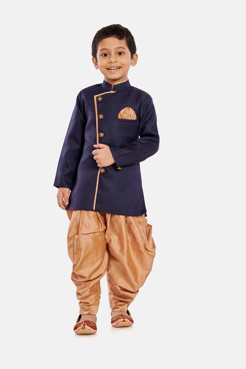 Navy Blue Color Function Wear Cotton Silk Fabric Dhoti Style Indo Western For Boys