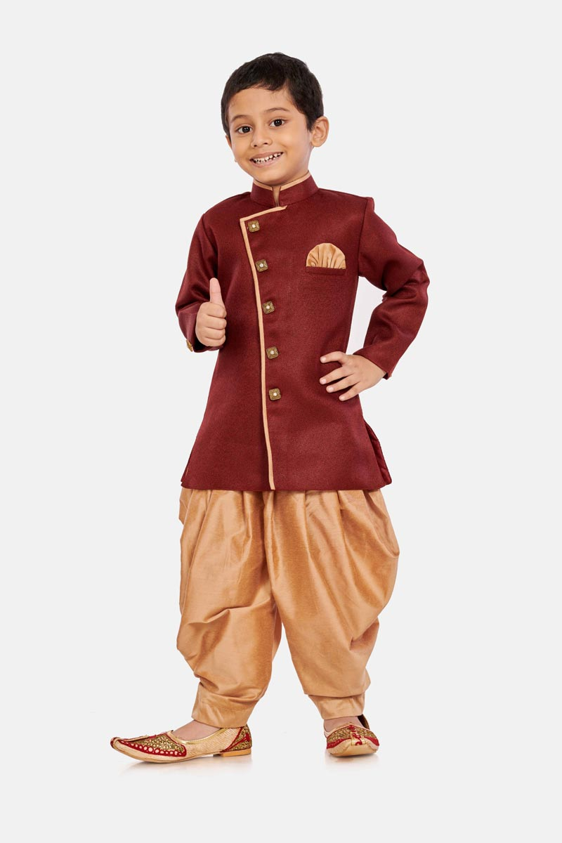Cotton Silk Fabric Fancy Maroon Color Function Wear Boys Dhoti Style Indo Western