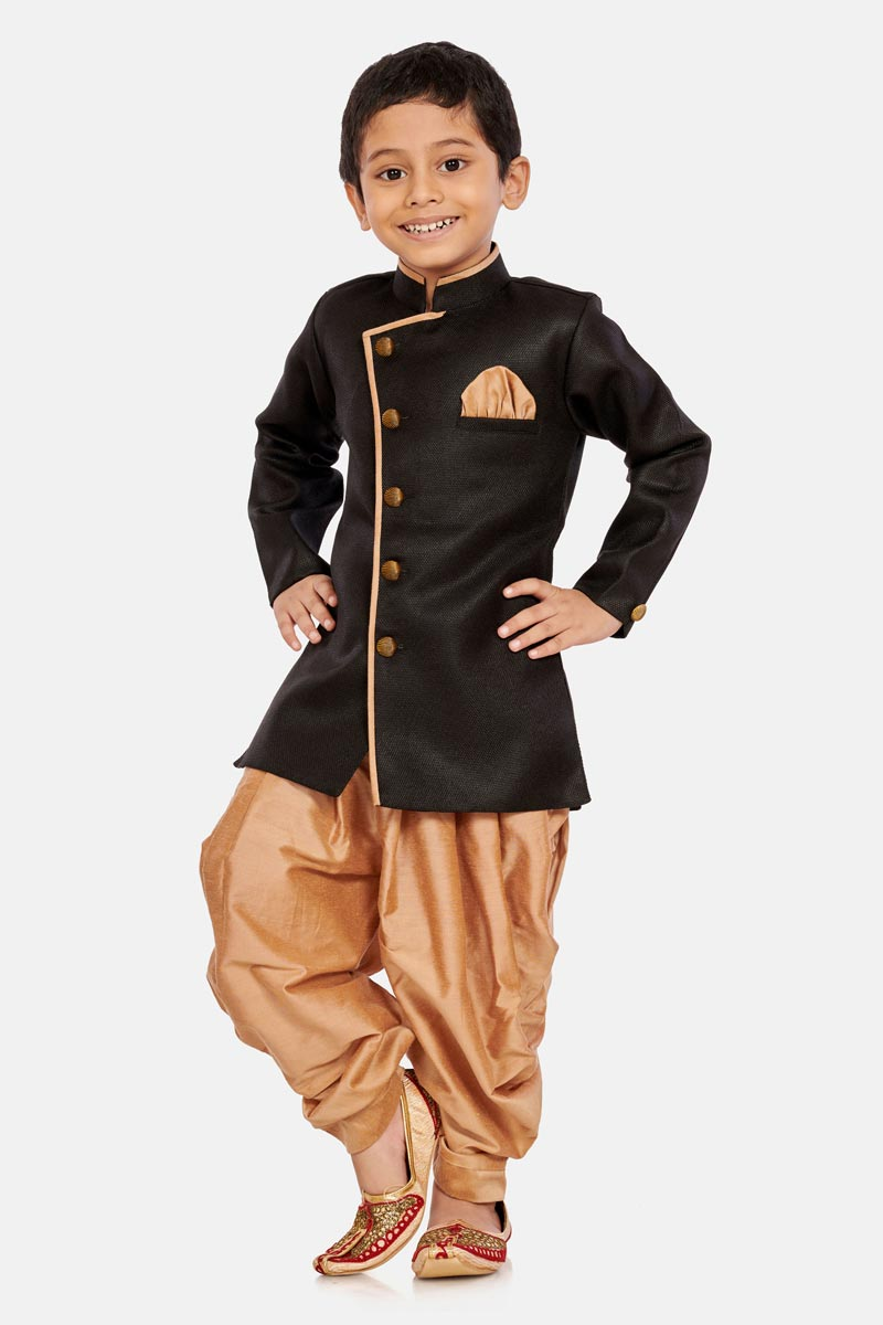 Sangeet Function Wear Cotton Silk Fabric Black Color Dhoti Style Indo Western For Boys