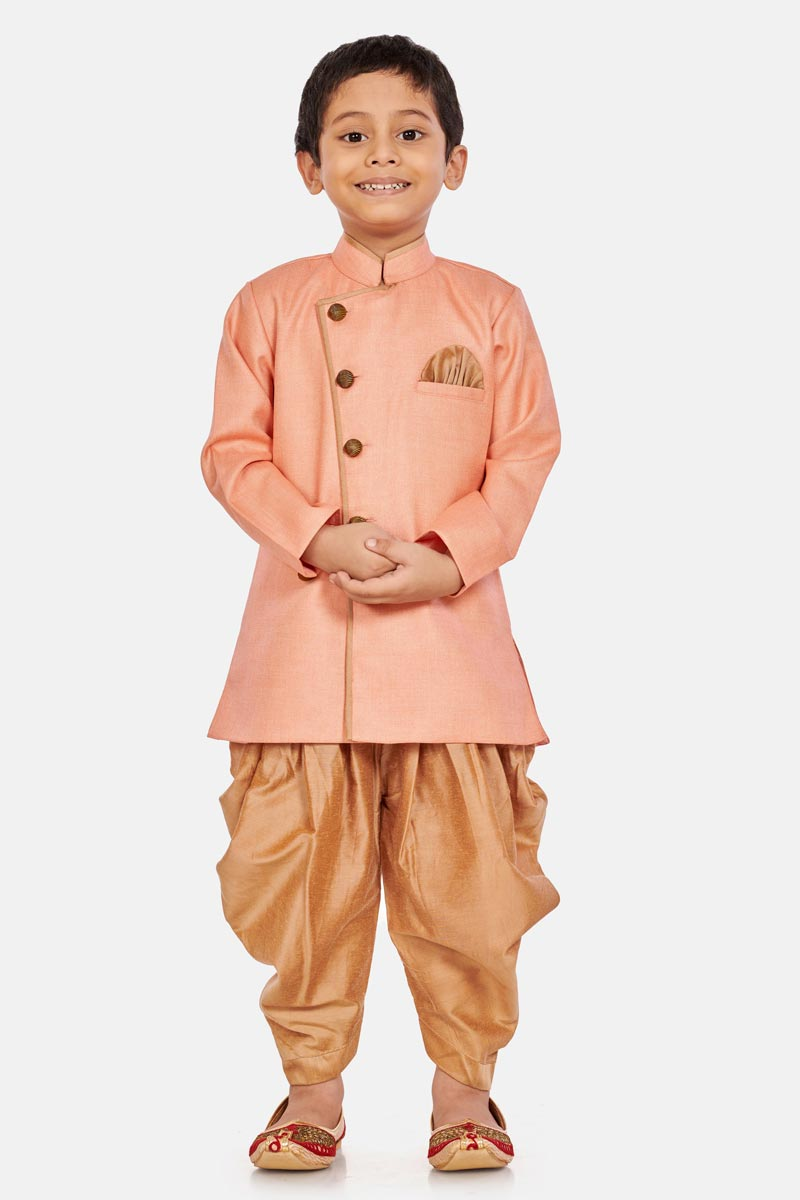 Traditional Wear Cotton Silk Fabric Peach Color Dhoti Style Indo Western For Boys