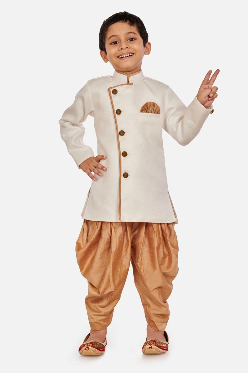 White Color Traditional Wear Cotton Silk Fabric Dhoti Style Indo Western For Boys