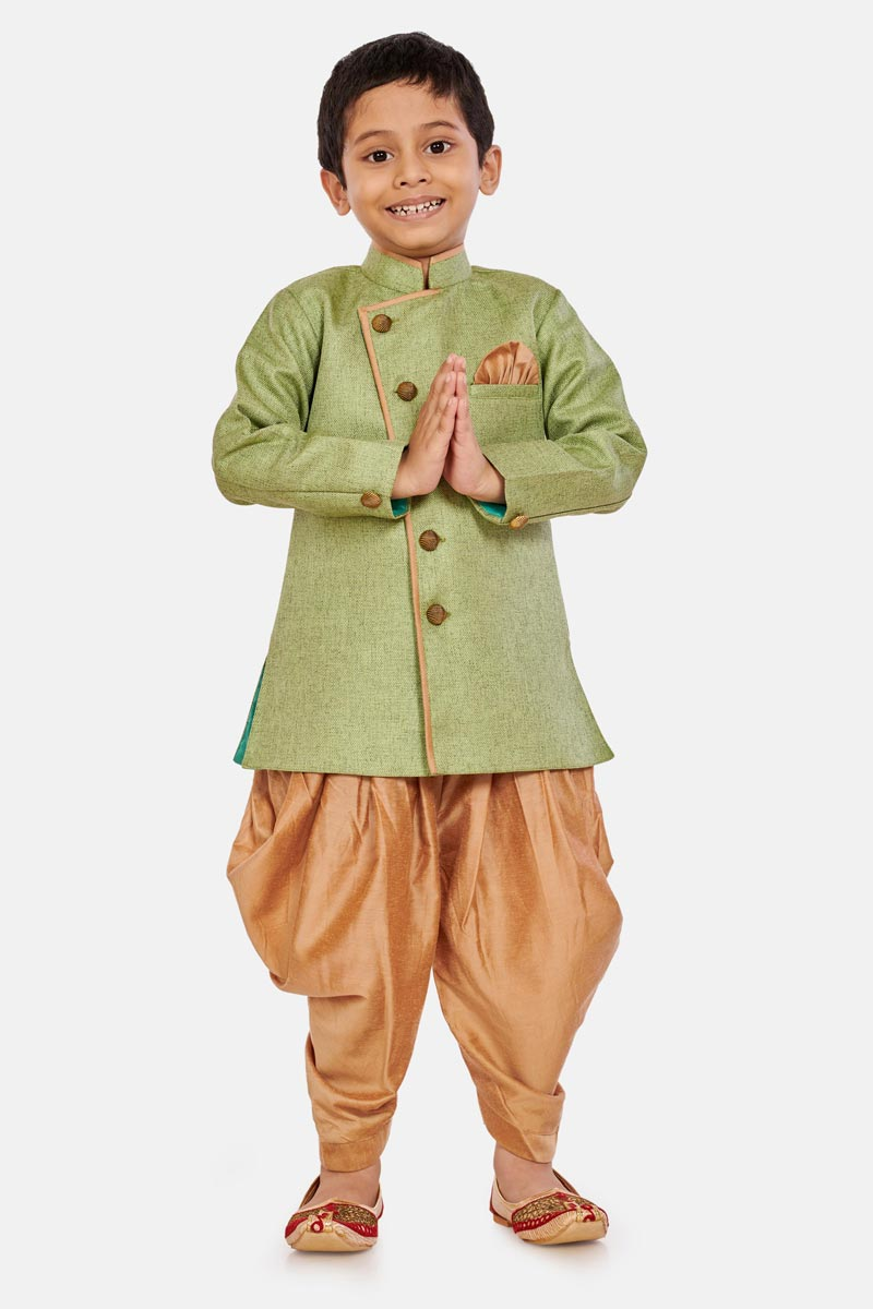 Traditional Wear Cotton Silk Fabric Dhoti Style Indo Western For Boys In Green Color