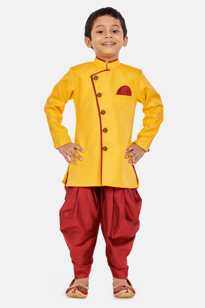 Occasion Wear Dhoti Style Indo Western For Boys In Yellow Color Cotton Silk Fabric