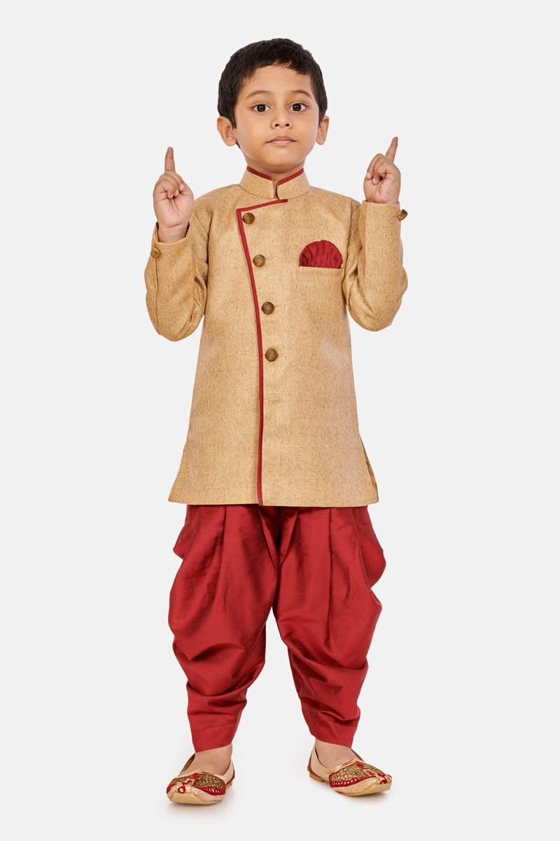 Occasion Wear Cream Color Cotton Silk Fabric Boys Dhoti Style Indo Western