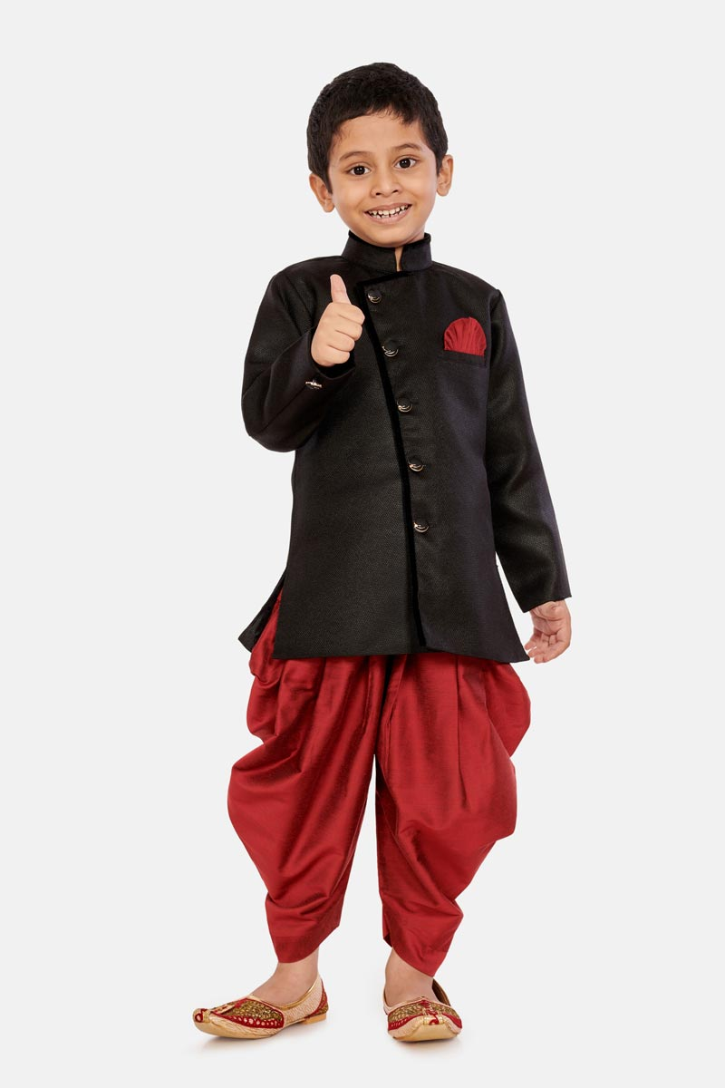 Cotton Silk Fabric Black Color Occasion Wear Boys Dhoti Style Indo Western