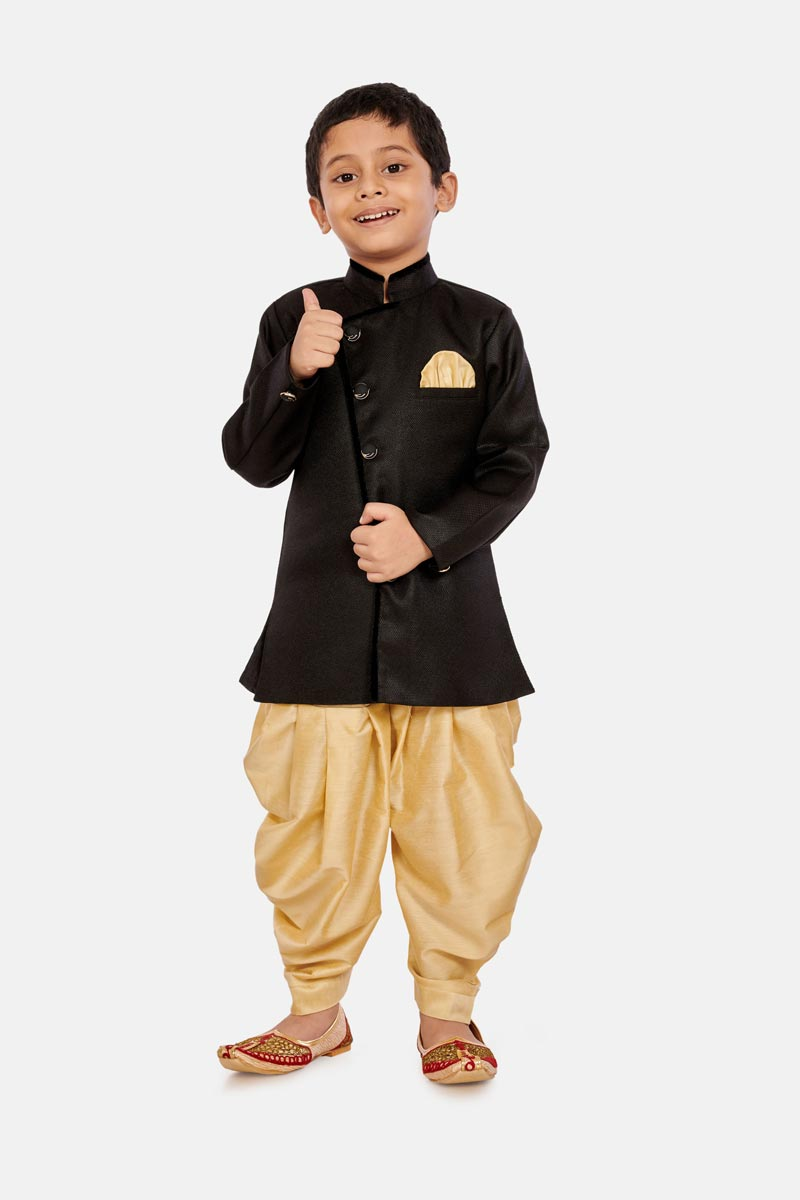 Occasion Wear Cotton Silk Fabric Black Color Dhoti Style Indo Western For Boys