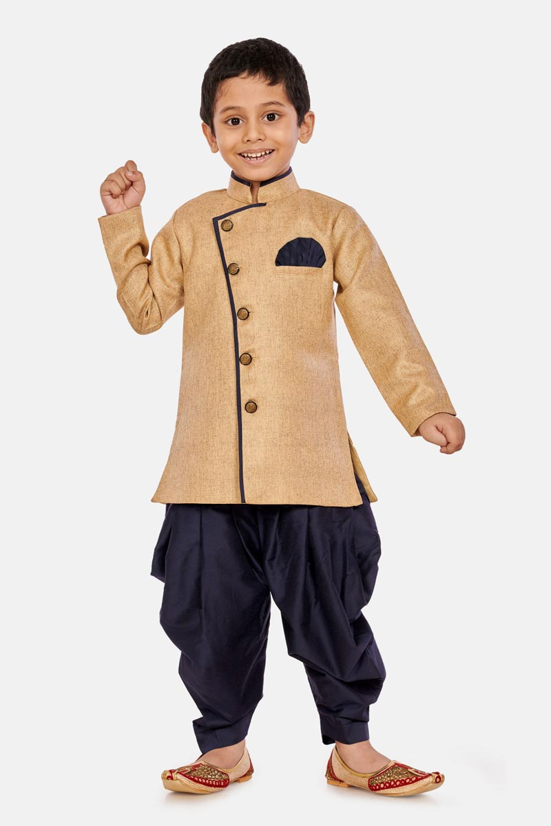 Cream Color Occasion Wear Cotton Silk Fabric Dhoti Style Indo Western For Boys