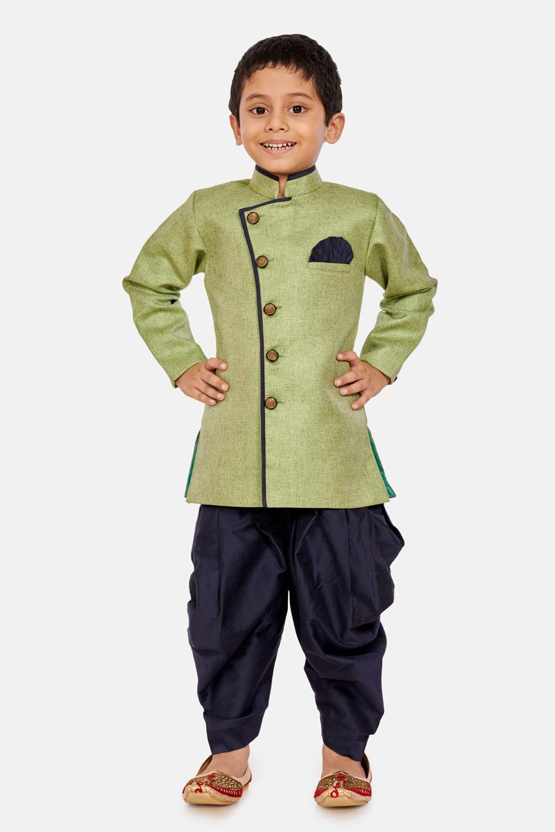 Sangeet Function Wear Dhoti Style Indo Western For Boys In Cotton Silk Fabric Green Color