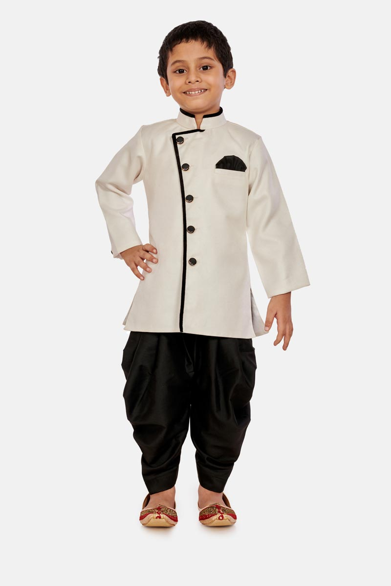 White Color Cotton Silk Fabric Sangeet Function Wear Boys Dhoti Style Indo Western