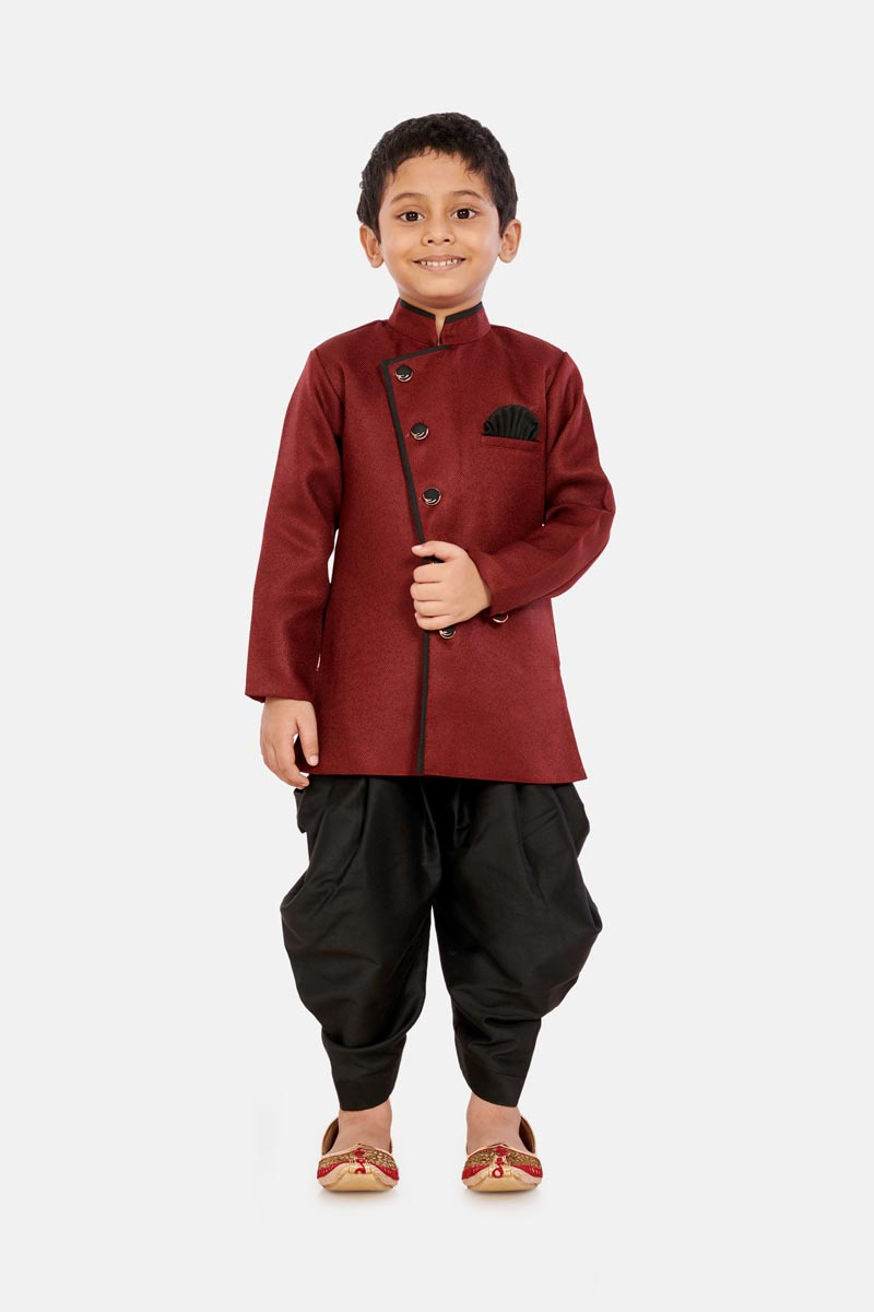 Sangeet Function Wear Maroon Color Cotton Silk Fabric Dhoti Style Indo Western For Boys