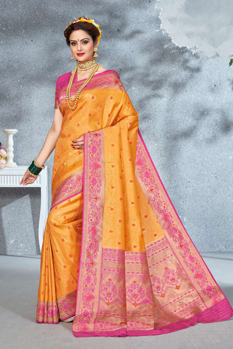 Orange Color Designer Saree In Art Silk Fabric