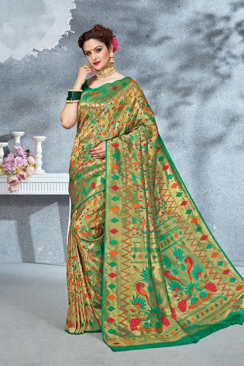 Fancy Green Color Art Silk Fabric Reception Wear Saree