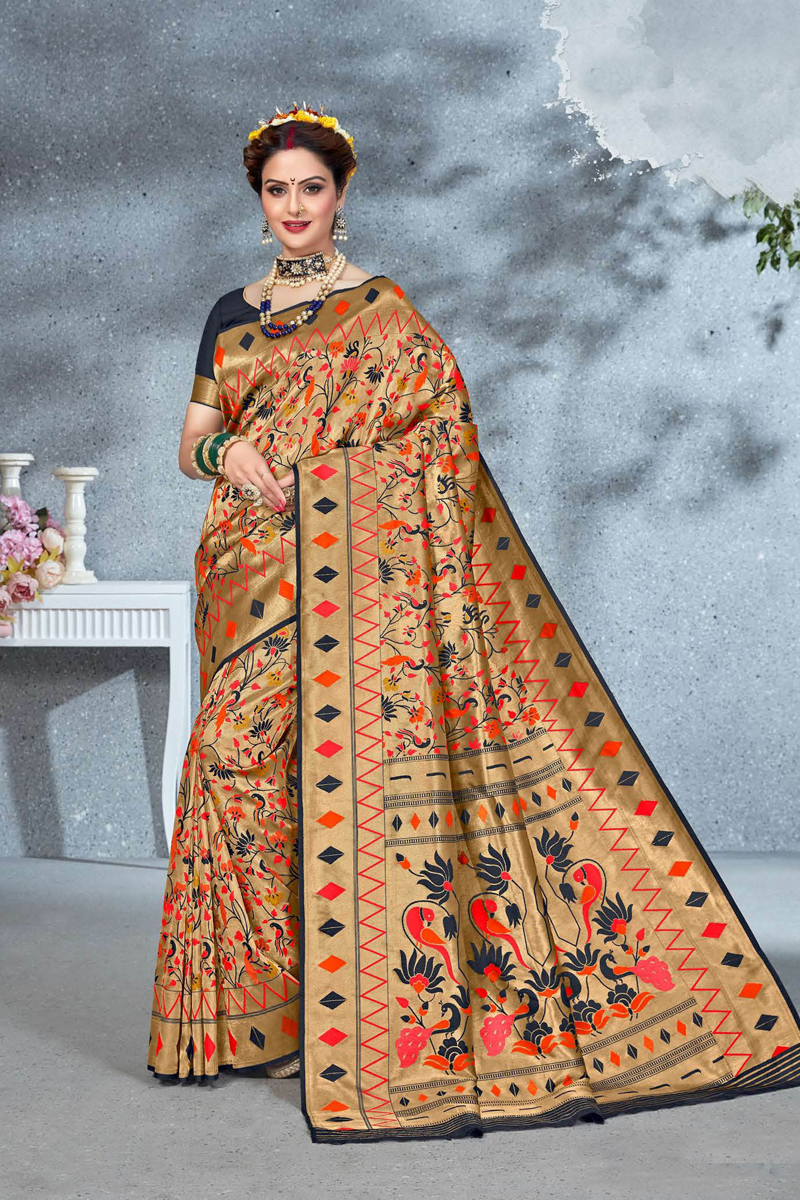 Cream Color Art Silk Fabric Function Wear Saree