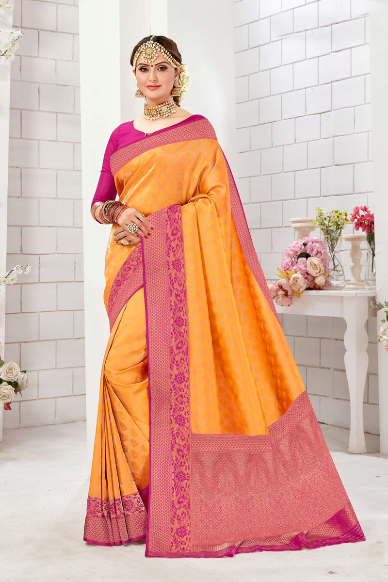 Orange Color Fancy Saree In Art Silk Fabric