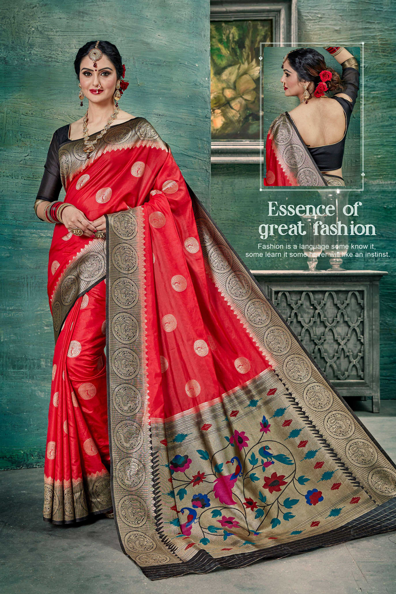Red Color Designer Weaving Work Saree In Art Silk Fabric