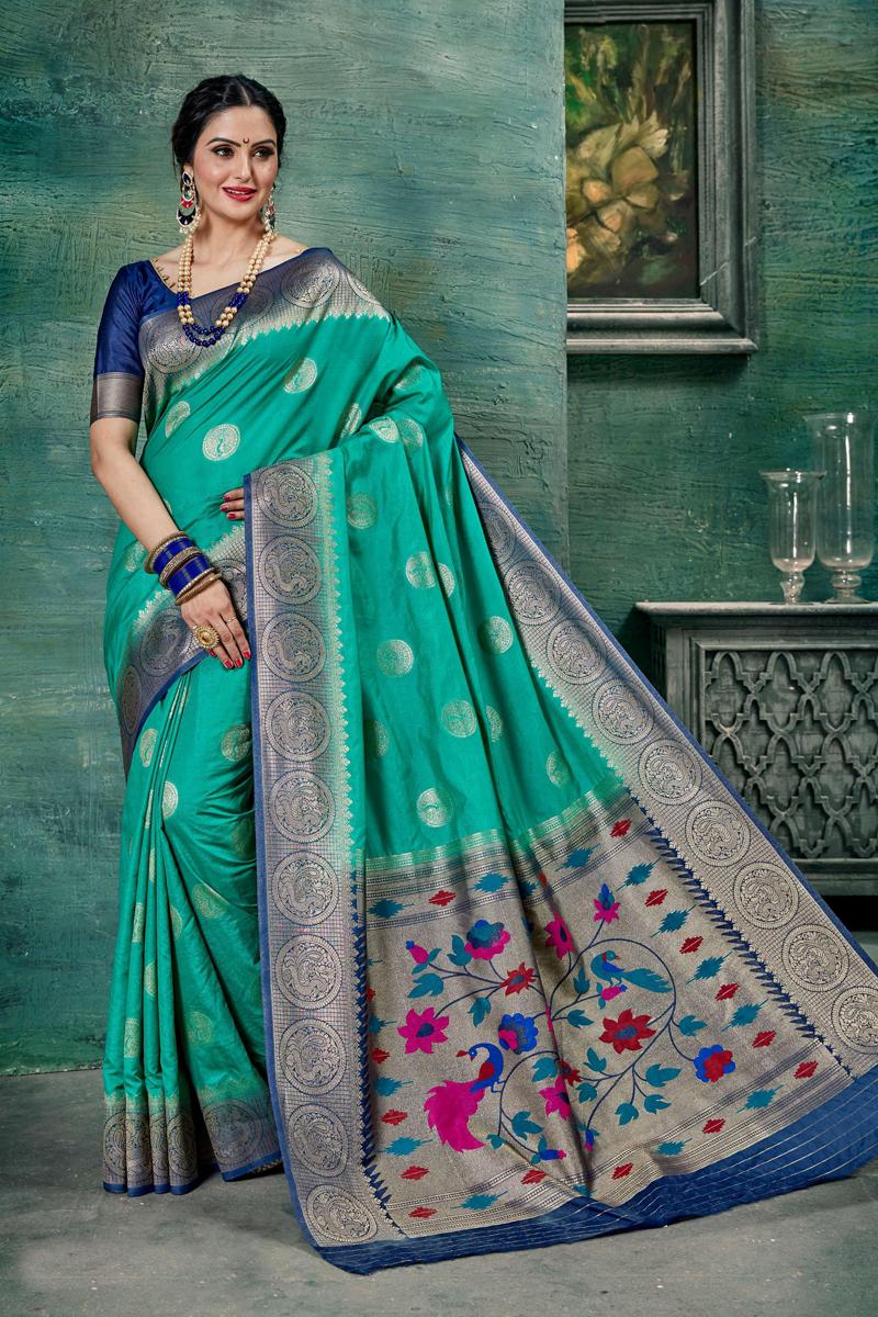 Art Silk Fabric Cyan Color Designer Weaving Work Saree