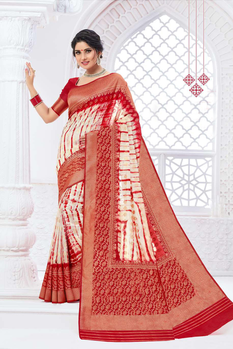 Art Silk Fabric Party Wear Weaving Work Saree In Red Color