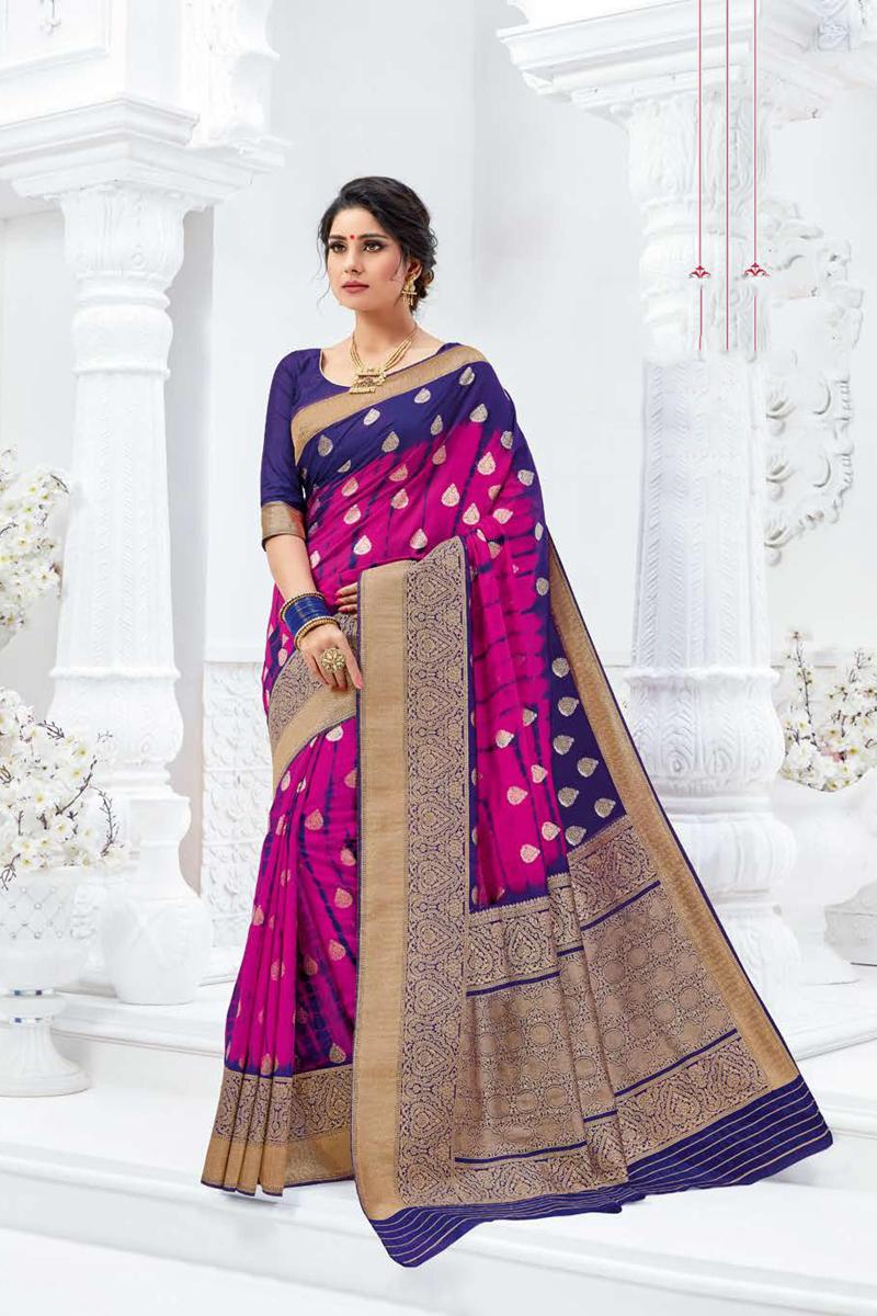 Dark Pink Color Art Silk Fabric Festive Wear Weaving Work Saree