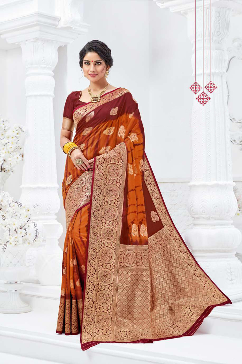 Rust Color Traditional Weaving Work Saree In Art Silk Fabric