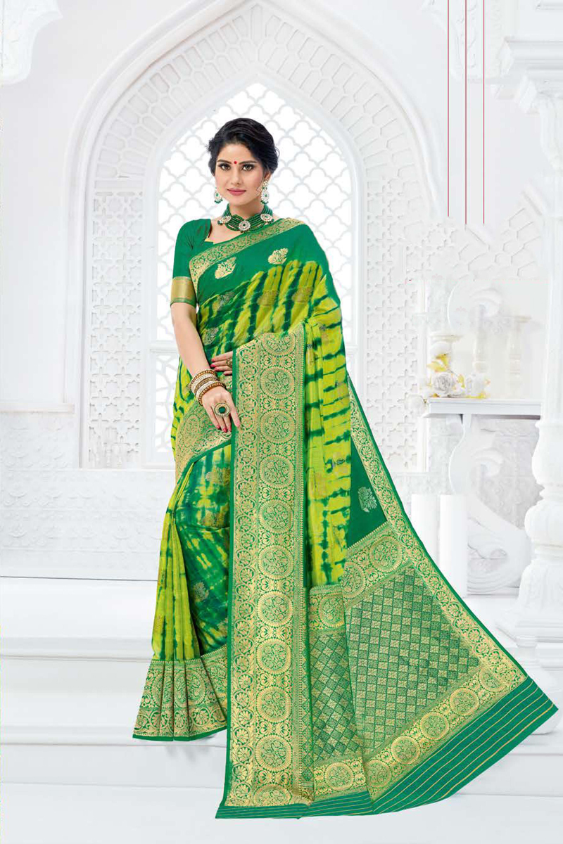 Green Color Art Silk Fabric Function Wear Weaving Work Saree