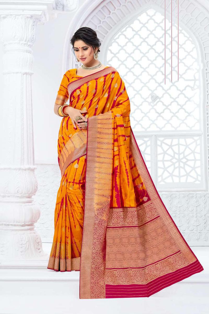 Art Silk Fabric Mustard Color Designer Weaving Work Saree
