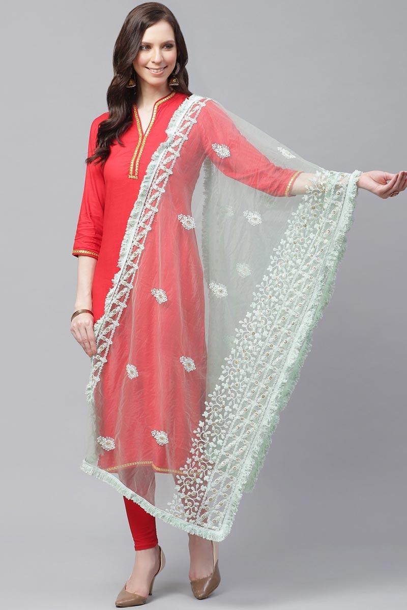 Chic Sea Green Color Festive Wear Net Fabric Thread Embroidered Dupatta