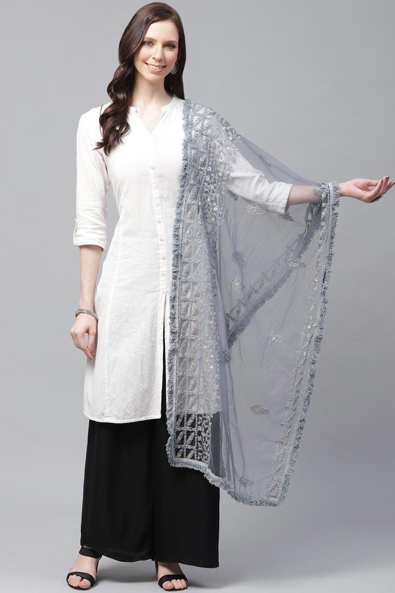 Festive Wear Net Fabric Grey Color Chic Thread Embroidered Dupatta