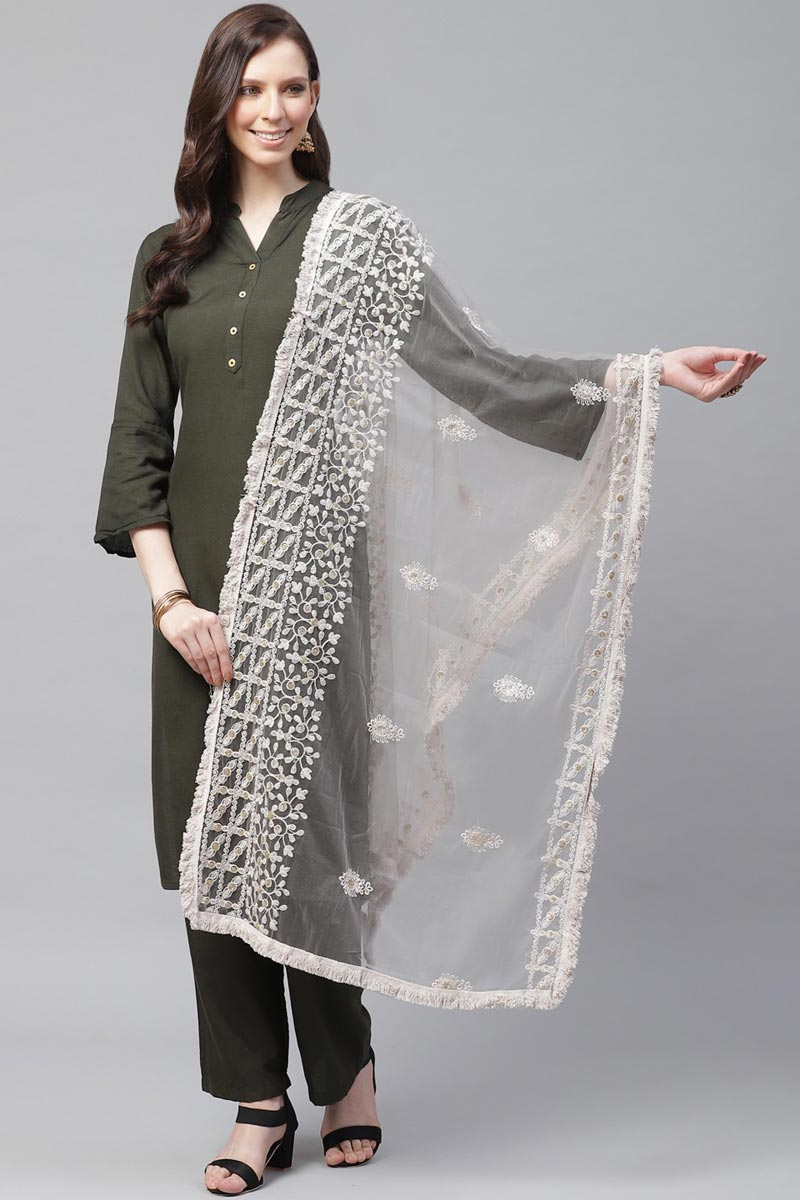 Net Fabric Festive Wear Off White Color Chic Thread Embroidered Dupatta
