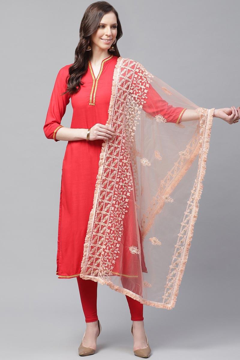 Chic Peach Color Festive Wear Thread Embroidered Dupatta In Net Fabric