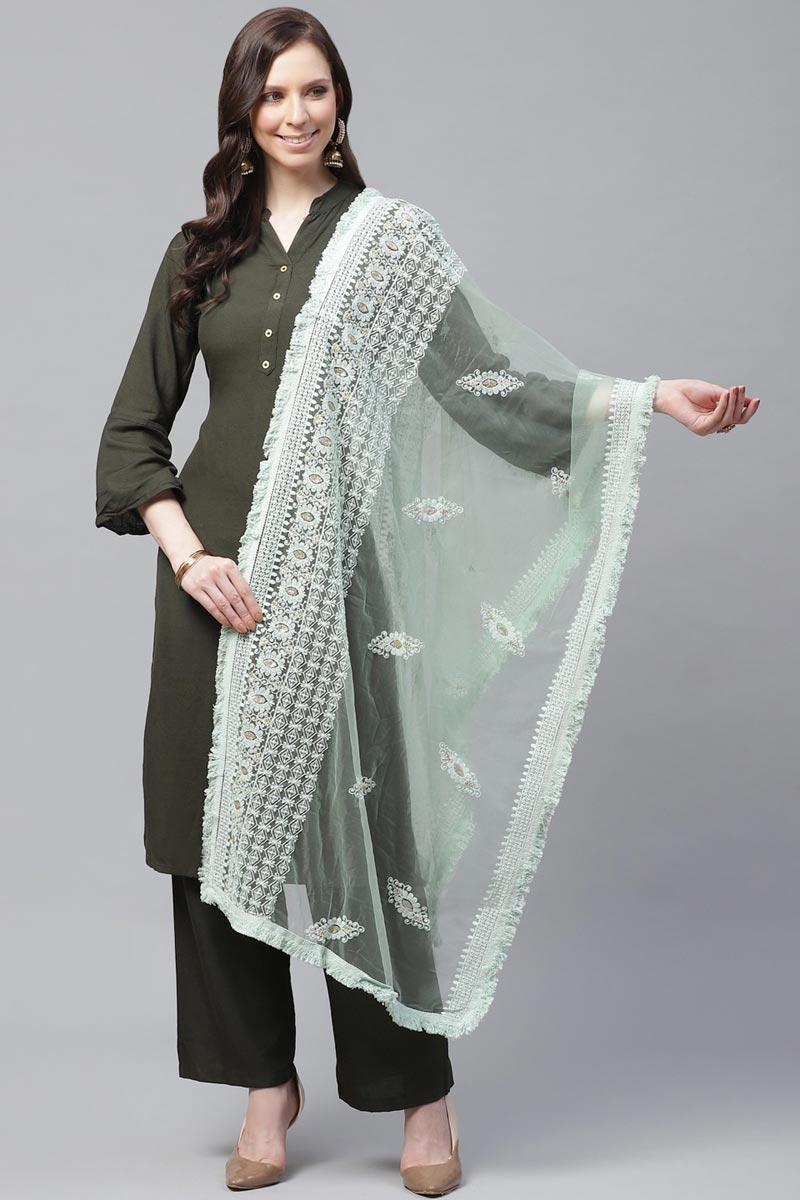 Chic Net Fabric Festive Wear Sea Green Color Thread Embroidered Dupatta