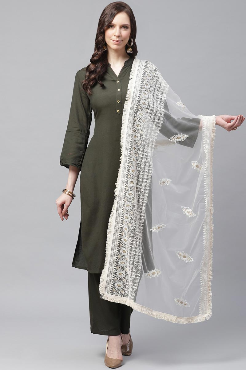 Festive Wear Chic Net Fabric Thread Embroidered Dupatta In Off White Color