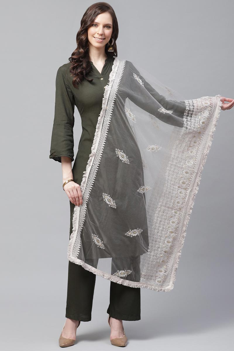 Off White Color Festive Wear Net Fabric Chic Thread Embroidered Dupatta