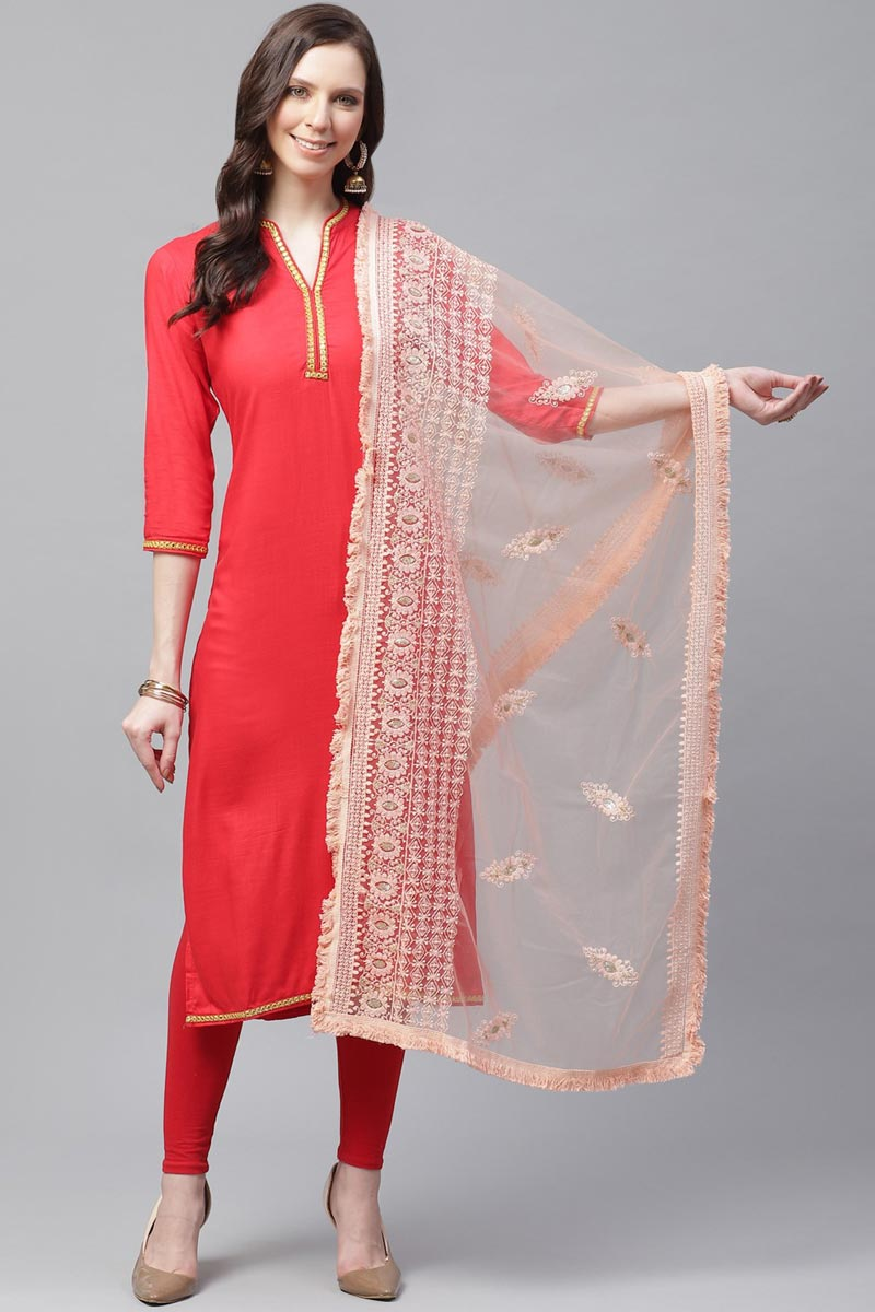 Chic Net Fabric Festive Wear Thread Embroidered Dupatta In Peach Color