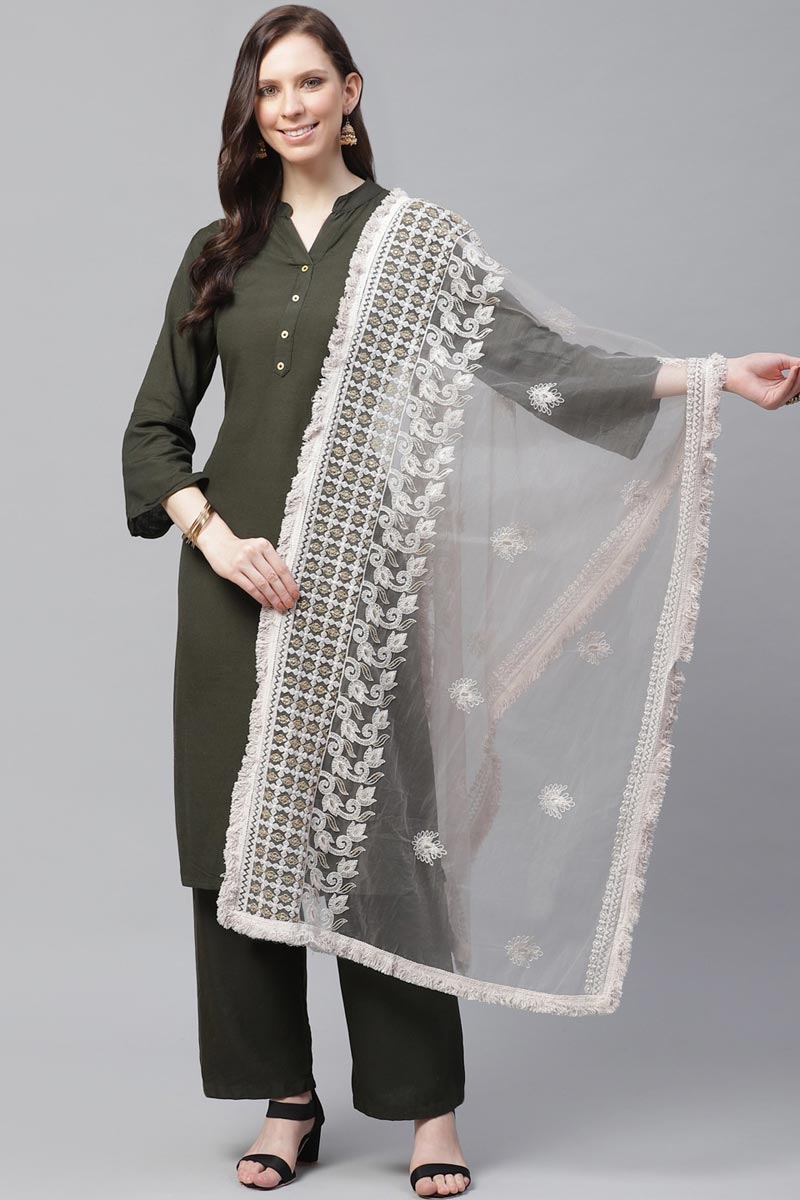 Net Fabric Festive Wear Off White Color Trendy Thread Embroidered Dupatta