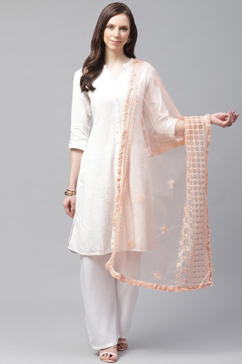 Trendy Peach Color Festive Wear Thread Embroidered Dupatta In Net Fabric