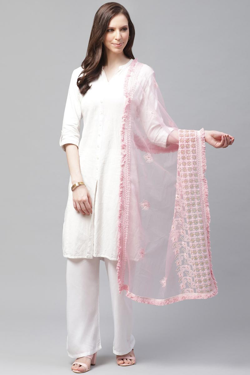 Festive Wear Trendy Pink Color Net Fabric Thread Embroidered Dupatta