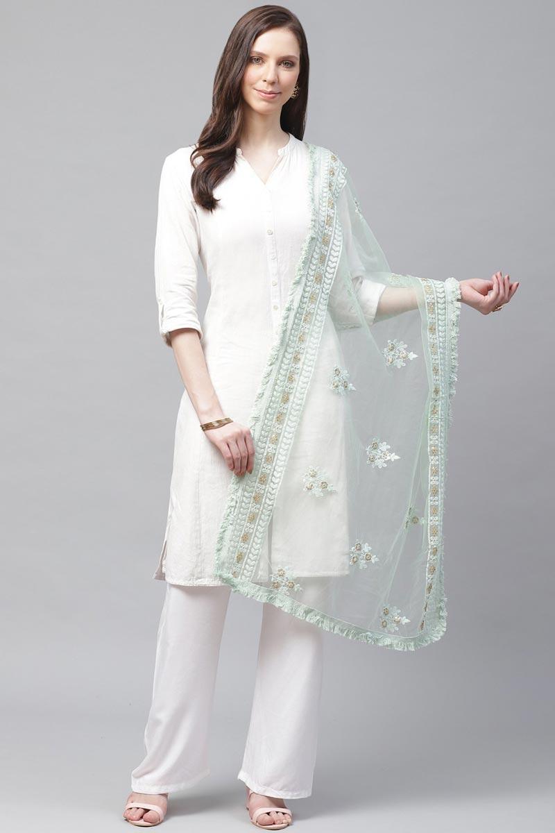 Trendy Net Fabric Festive Wear Sea Green Color Thread Embroidered Dupatta