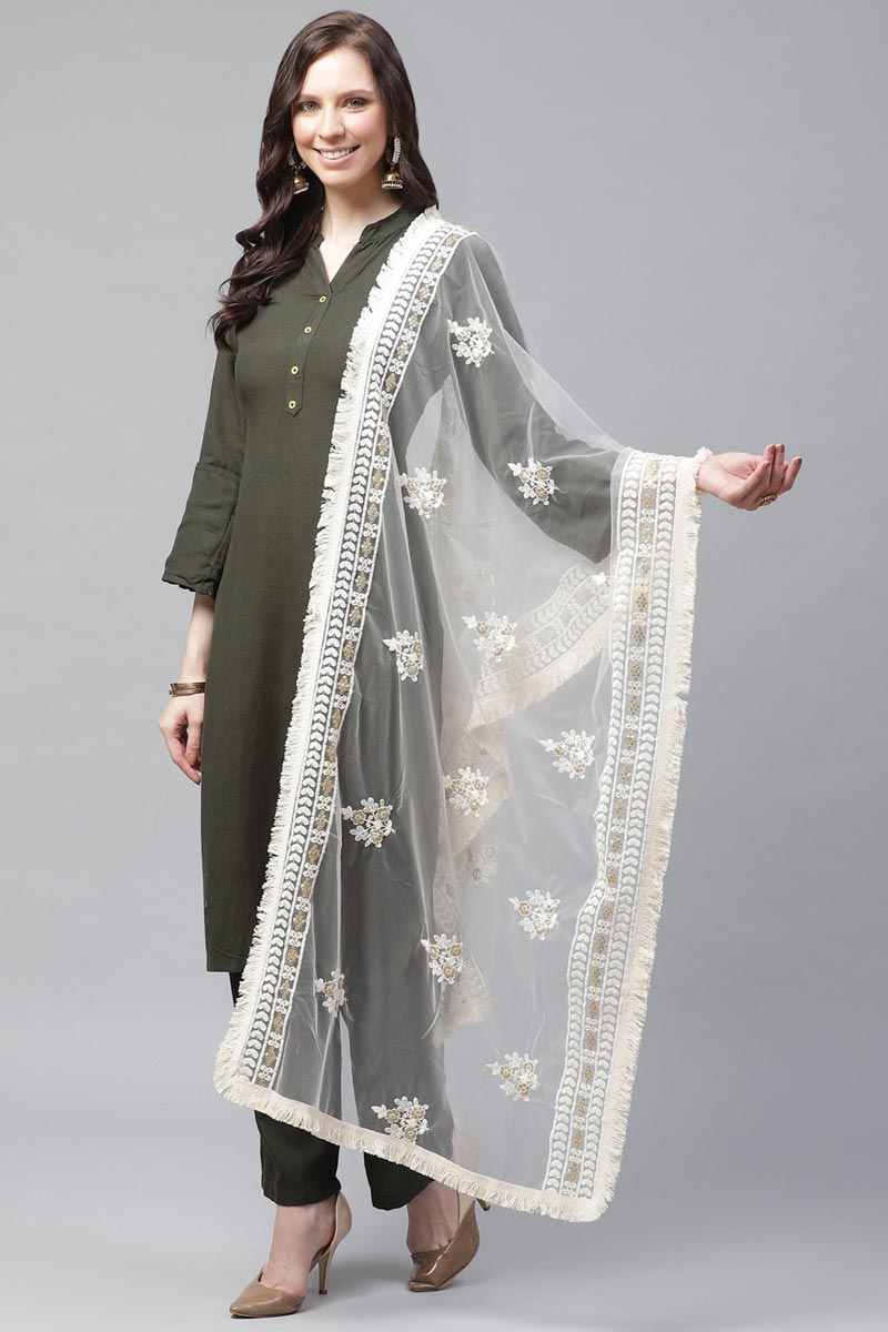 Festive Wear Trendy Net Fabric Thread Embroidered Dupatta In Off White Color