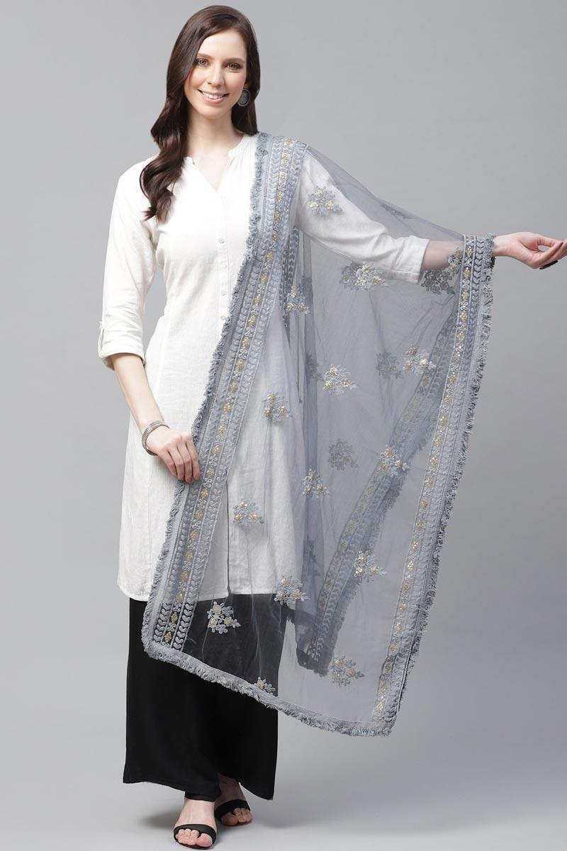 Festive Wear Grey Color Trendy Net Fabric Thread Embroidered Dupatta