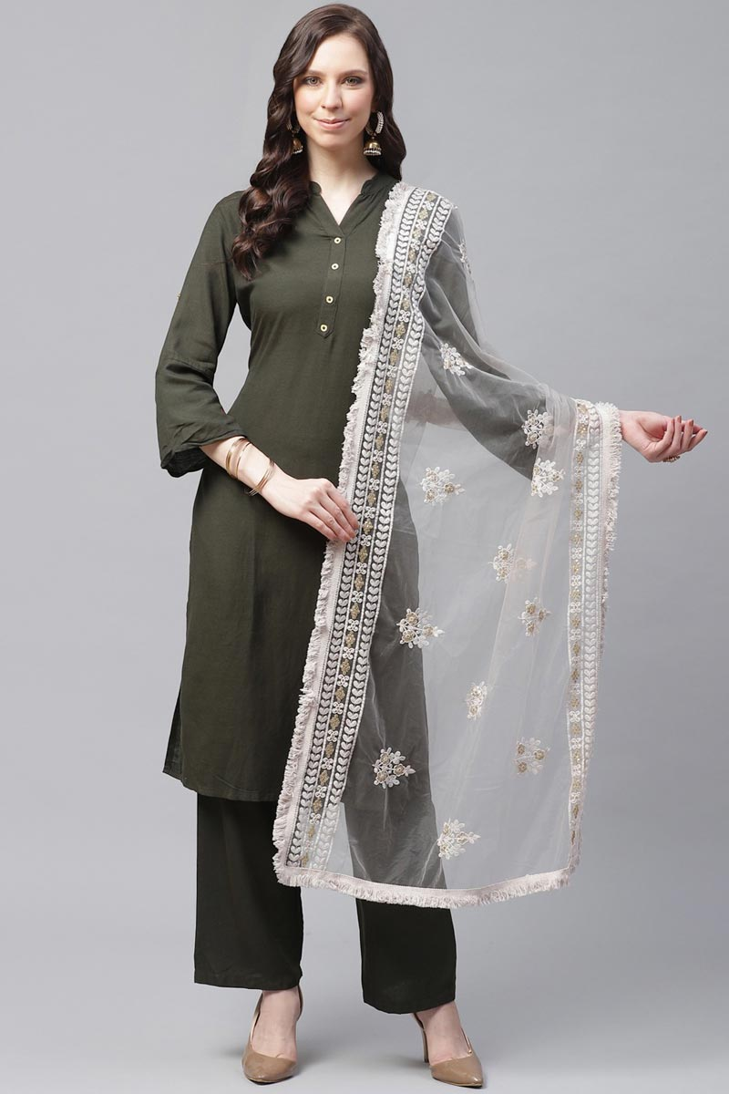 Off White Color Festive Wear Net Fabric Trendy Thread Embroidered Dupatta