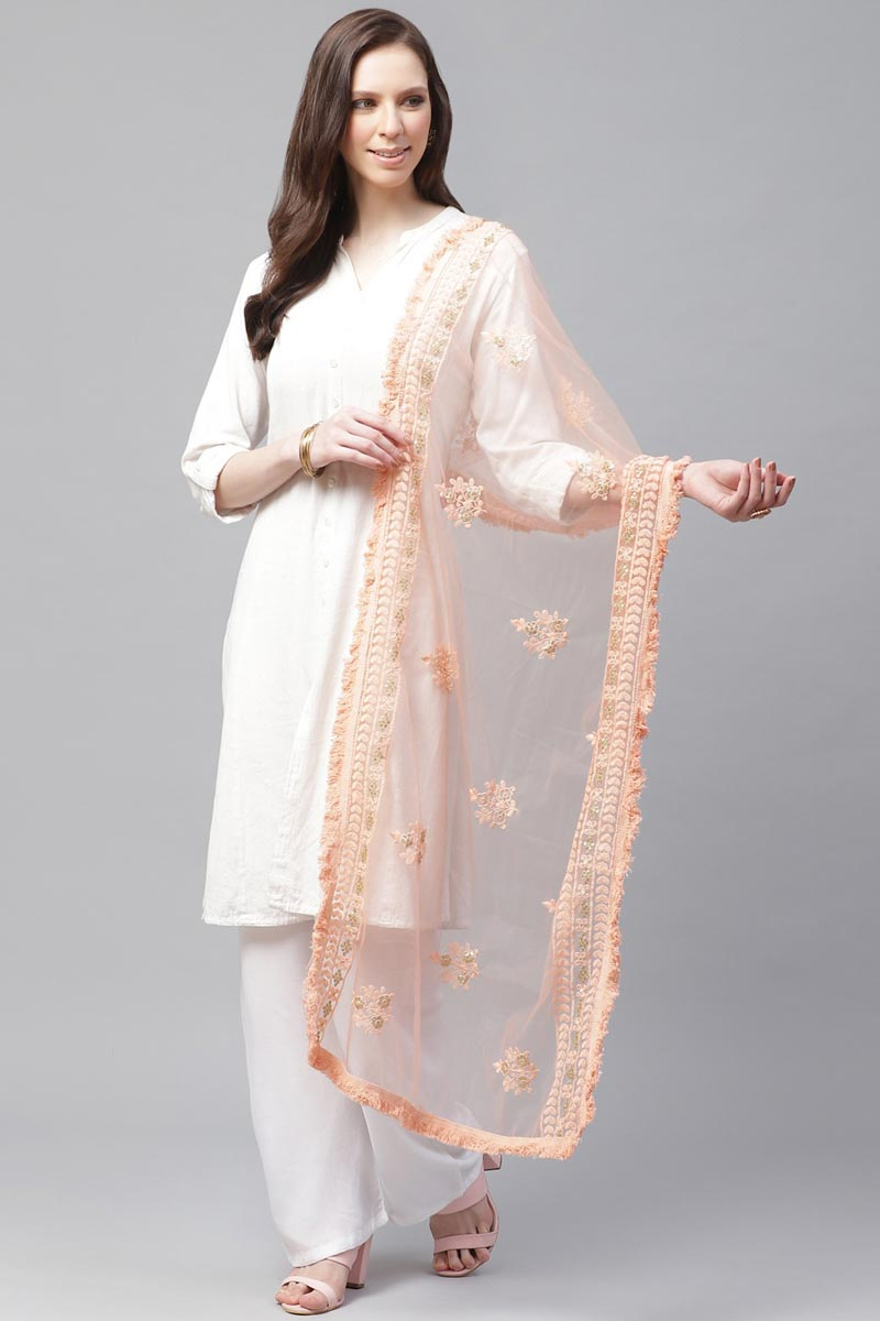 Trendy Net Fabric Festive Wear Thread Embroidered Dupatta In Peach Color