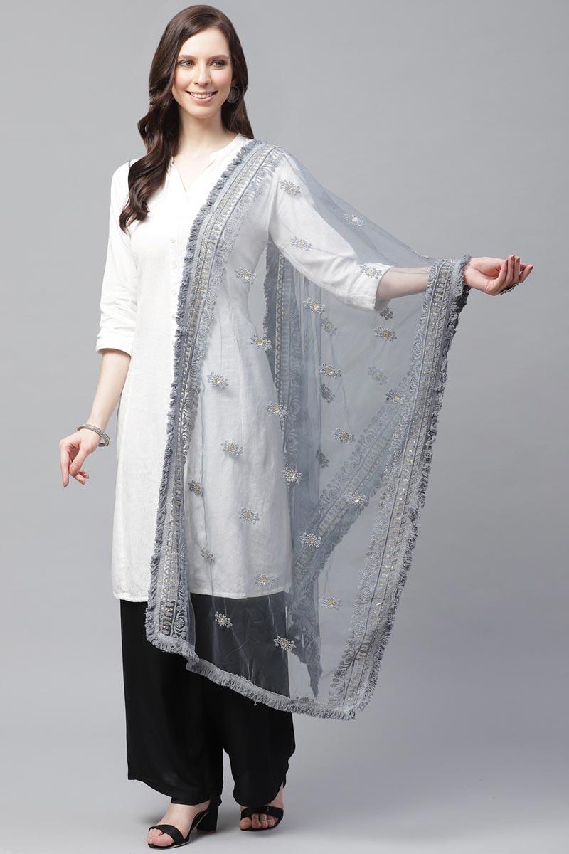 Festive Wear Net Fabric Grey Color Stylish Thread Embroidered Dupatta