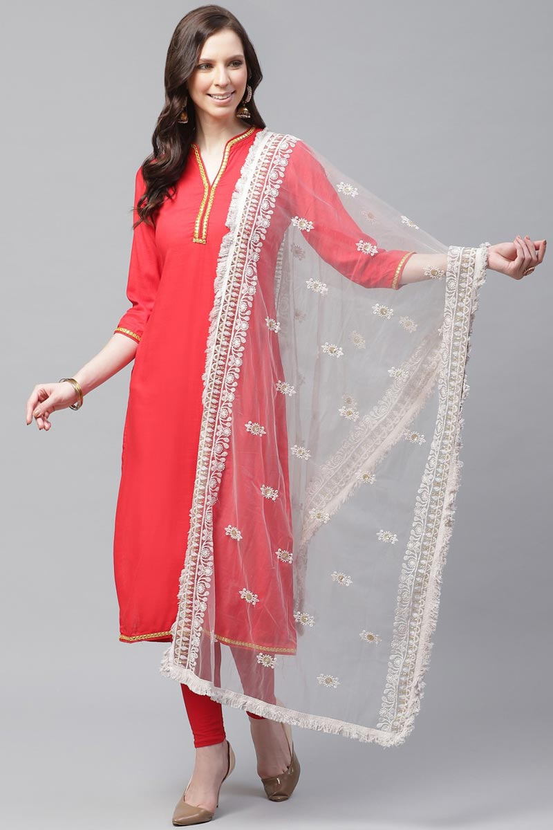 Net Fabric Festive Wear Off White Color Stylish Thread Embroidered Dupatta