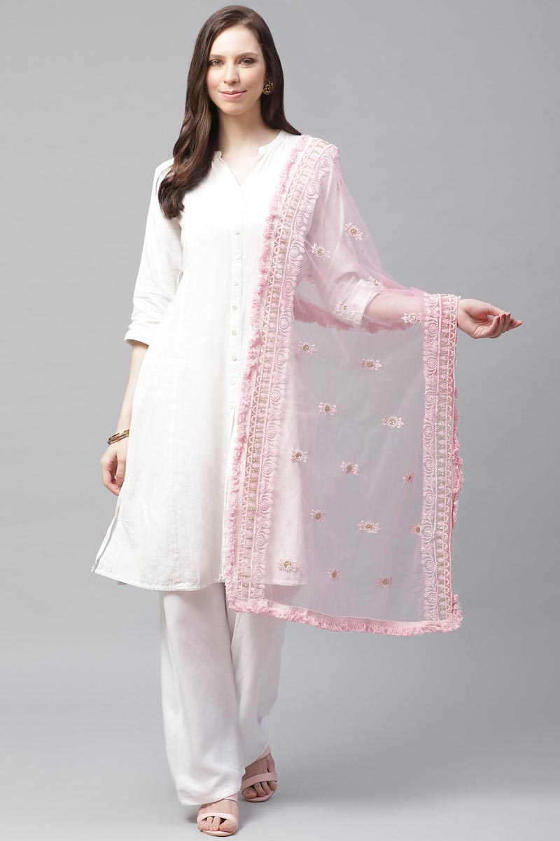 Festive Wear Stylish Pink Color Net Fabric Thread Embroidered Dupatta
