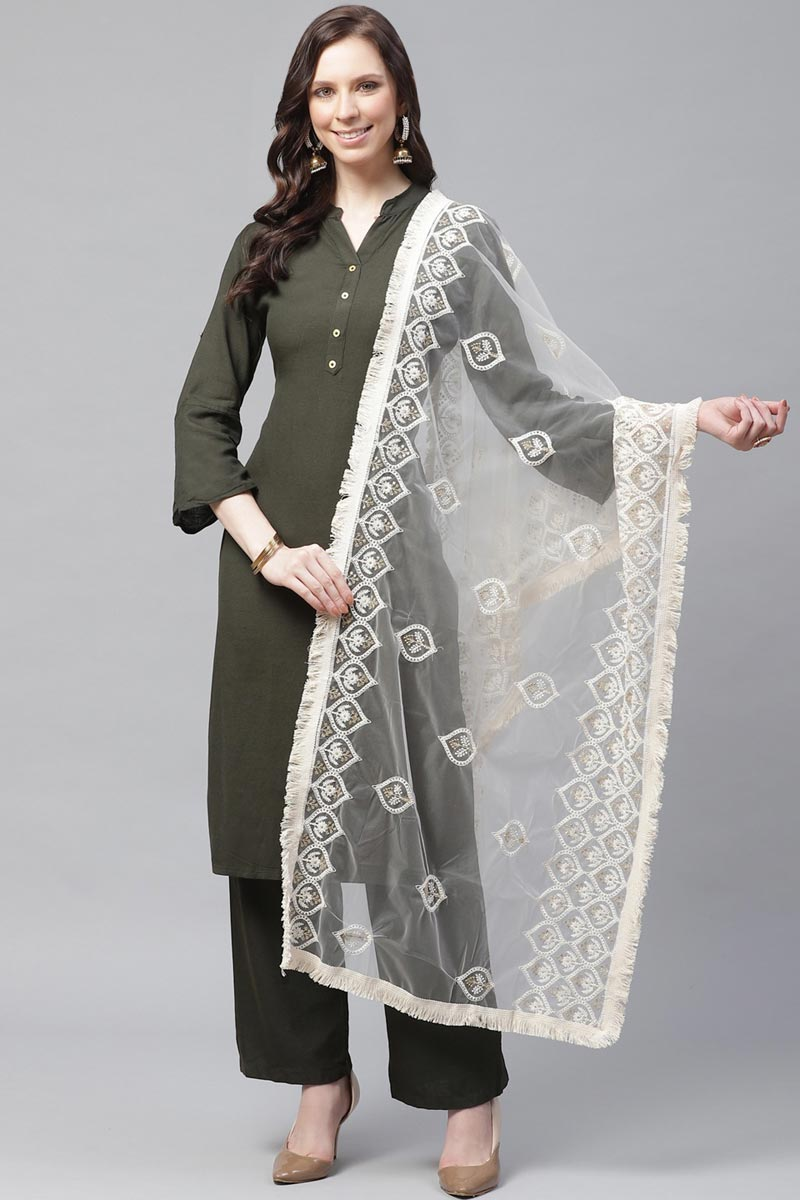 Festive Wear Stylish Net Fabric Thread Embroidered Dupatta In Off White Color