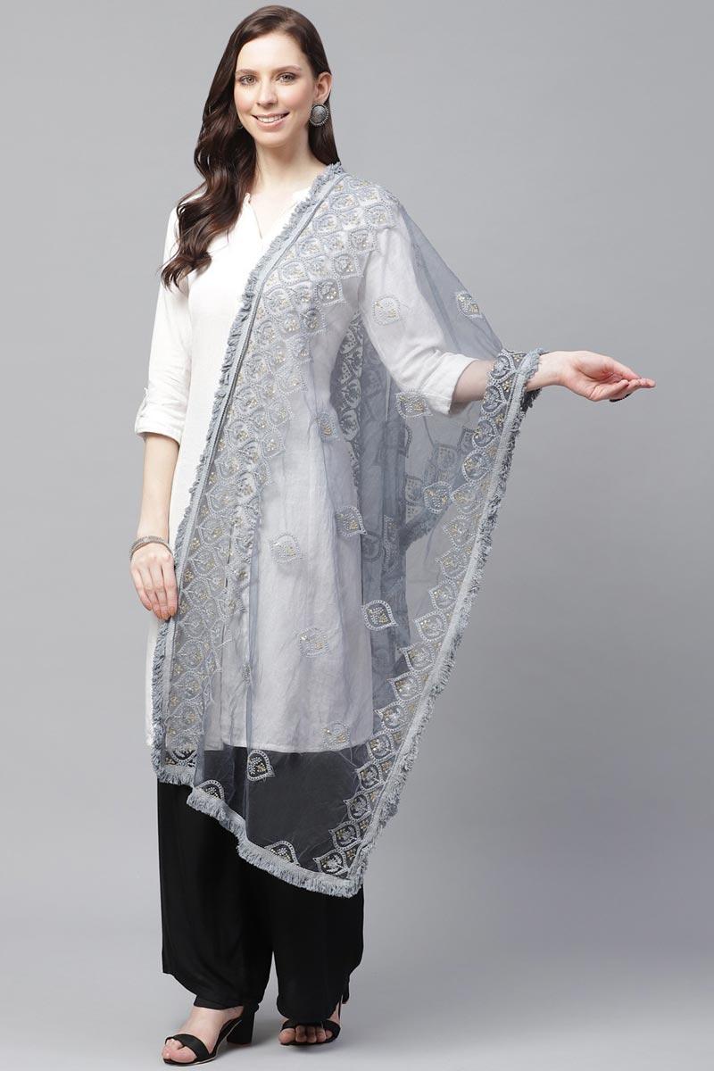 Festive Wear Grey Color Stylish Net Fabric Thread Embroidered Dupatta